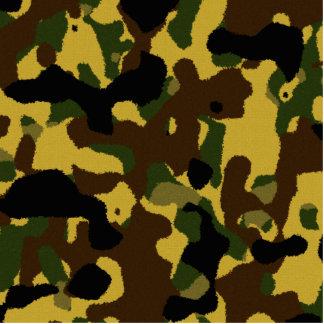 Abstraktes grünes braunes gelbes Tarnungsmuster Freistehende Fotoskulptur