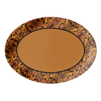 Abstraktes Herbst-Blatt-Silhouette-Muster Porzellan Servierplatte