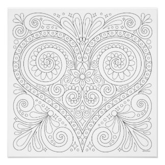 Abstraktes Herz-Farbton-Plakat - färbbares Plakat