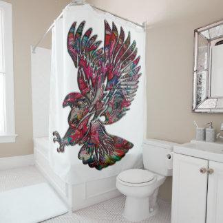 Abstraktes Imitat-metallischer Stammes- Adler Duschvorhang