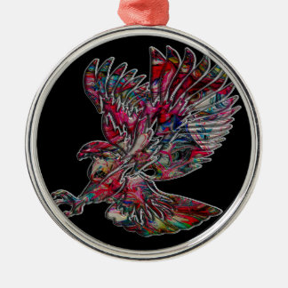 Abstraktes Imitat-metallischer Stammes- Adler Silbernes Ornament