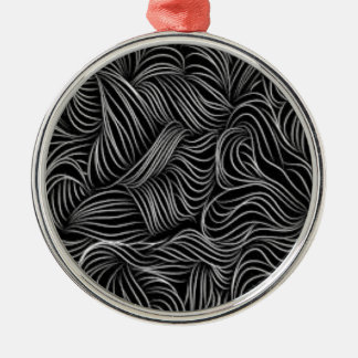 Abstraktes kaskadierendes Schwarzweiss-Muster Rundes Silberfarbenes Ornament