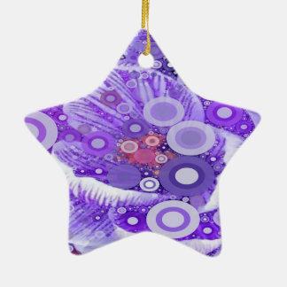Abstraktes konzentrische Kreis-Mosaik-lila Keramik Stern-Ornament