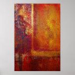 Abstraktes Kunst-Farbfeld-orange Rot-gelbes Gold Poster