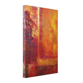 Abstraktes Kunst-Farbfeld-rotes orange gelbes Gold Leinwanddruck