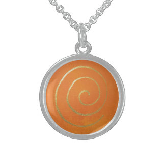 Abstraktes Kunst-Gold und orange goldener Sterling Silberkette