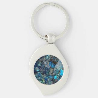 Abstraktes Labradorit-Mosaik Keychain Schlüsselanhänger