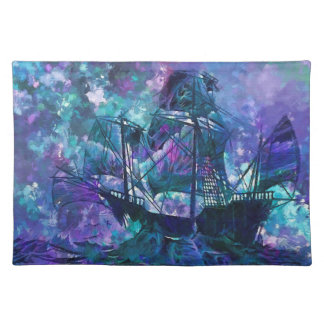 Abstraktes lila Aquaschiff des Trendy Tischsets