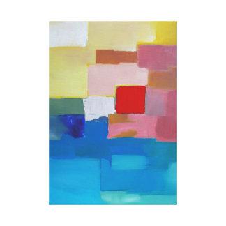 Abstraktes Malerei-Meer/Insel/Himmel - rotes Quadr Galerie Gefaltete Leinwand