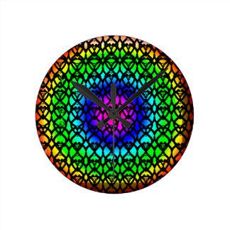 Abstraktes Muster des bunten Kreis-Regenbogens Runde Wanduhr