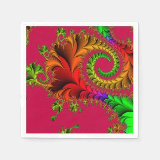 Abstraktes Muster-Fraktal rot und grün Serviette