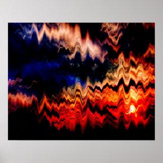 Abstraktes Muster-gewellte Farben Poster