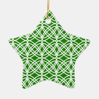Abstraktes Muster - Grün und Weiß Keramik Ornament