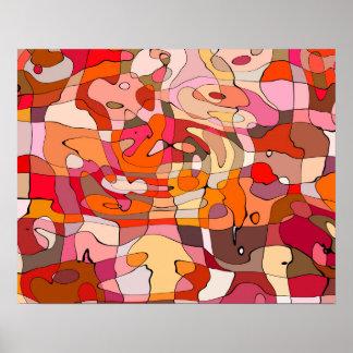 Abstraktes Muster-künstlerische rotbraune Konturen Poster