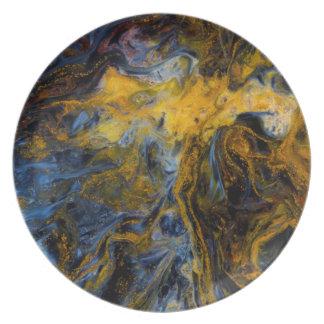 Abstraktes nahes oben von Pietersite Melaminteller