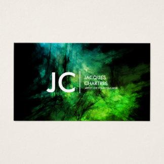 Abstraktes Öl-Malerei-berufliches Monogramm-Grün Visitenkarte