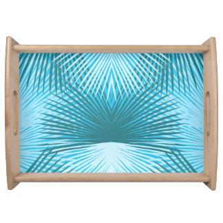 Abstraktes Palmblatt-Aqua-Serviertablett Tablett