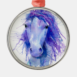 Abstraktes Porträt des Watercolor Pferde Silbernes Ornament
