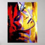 Abstraktes Porträt einer Frau Malerei - Kunst druc Plakatdrucke