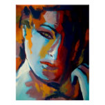 Abstraktes Porträt einer Frau Malerei - Kunst druc Plakat