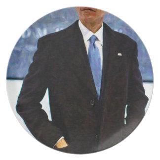 Abstraktes Porträt von Präsidenten Barack Obama 10 Teller