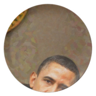 Abstraktes Porträt von Präsidenten Barack Obama 11 Teller