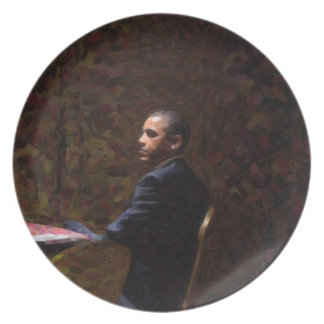 Abstraktes Porträt von Präsidenten Barack Obama 13 Melaminteller