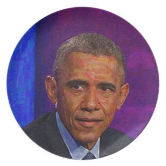 Abstraktes Porträt von Präsidenten Barack Obama 7 Melaminteller