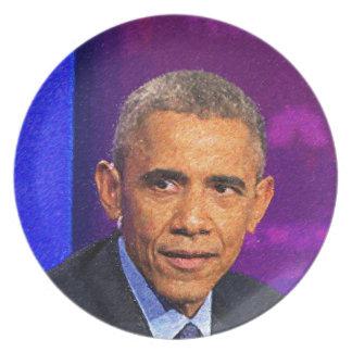 Abstraktes Porträt von Präsidenten Barack Obama 8 Teller