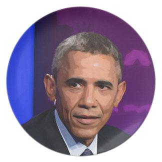 Abstraktes Porträt von Präsidenten Barack Obama 9 Melaminteller