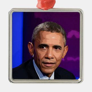 Abstraktes Porträt von Präsidenten Barack Obama 9 Silbernes Ornament