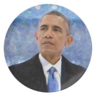Abstraktes Porträt von Präsidenten Barack Obama Melaminteller
