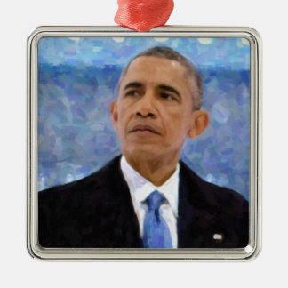 Abstraktes Porträt von Präsidenten Barack Obama Silbernes Ornament