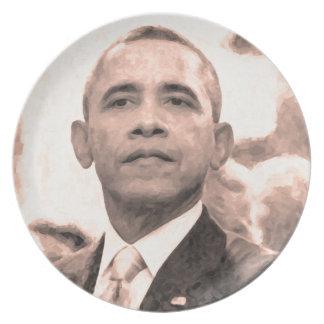 Abstraktes Porträt von Präsidenten Barack Obama Teller