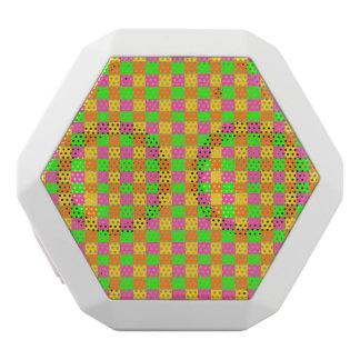 Abstraktes rosa grünes checkered Neonmuster Weiße Bluetooth Lautsprecher