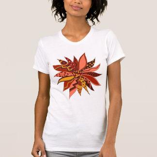 Abstraktes rotes gemustertes Blumen-Shirt T-Shirt