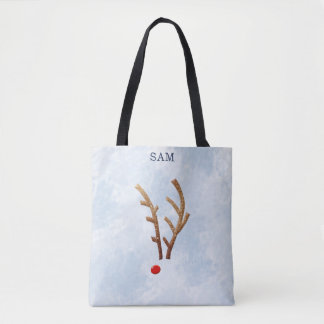 Abstraktes rotnasiges Ren, WinterWatercolor Tasche