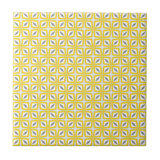 Abstraktes Safari-Blatt-Muster-Gelb und Grau Fliese