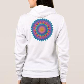 Abstraktes Sonnenblume-Fraktal-Pixel-Blau Hoodie