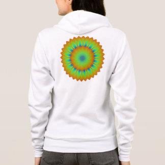 Abstraktes Sonnenblume-Fraktal-Pixel-Grün Hoodie