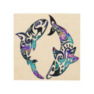 Abstraktes Stammes- Haifisch-Einkreisen Holzdruck