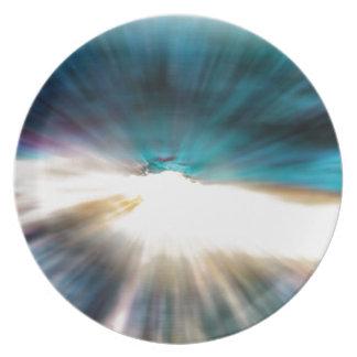 Abstraktes Wasser - Lichtgeschwindigkeit Melaminteller