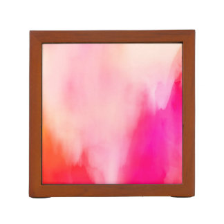 Abstraktes Watercolor-Rosa-korallenrotes orange Stifthalter