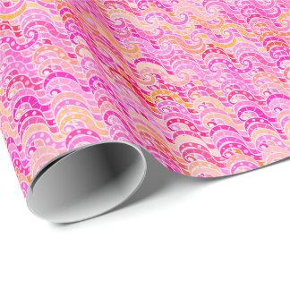 Abstraktes Wellenmuster - Rosa, Orange und Fuchsie Geschenkpapier