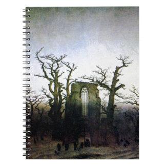 Abtei in einem Eichen-Wald durch Caspar David Spiral Notizblock