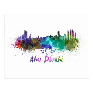 Abu Dhabi skyline im Watercolor Postkarte