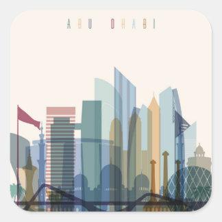 Abu Dhabi, Stadt-Skyline Arabische Emirates | Quadratischer Aufkleber