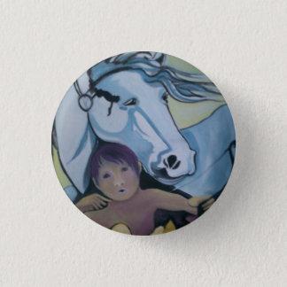 Abzeichen: Amor und sein Pferd Runder Button 3,2 Cm