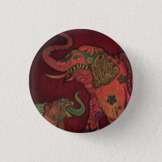 Abzeichen: Indischer Elefant Runder Button 3,2 Cm