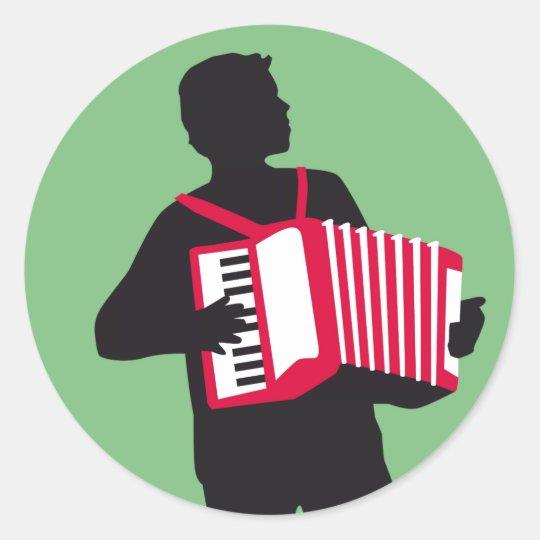 Accordion player runder aufkleber